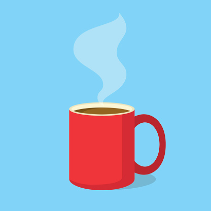 Red coffee mug with steam in flat design style. Vector illustration