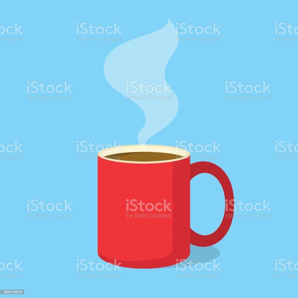Taza de café tinto con vapor en el estilo de diseño plano. Ilustración de vector - ilustración de arte vectorial