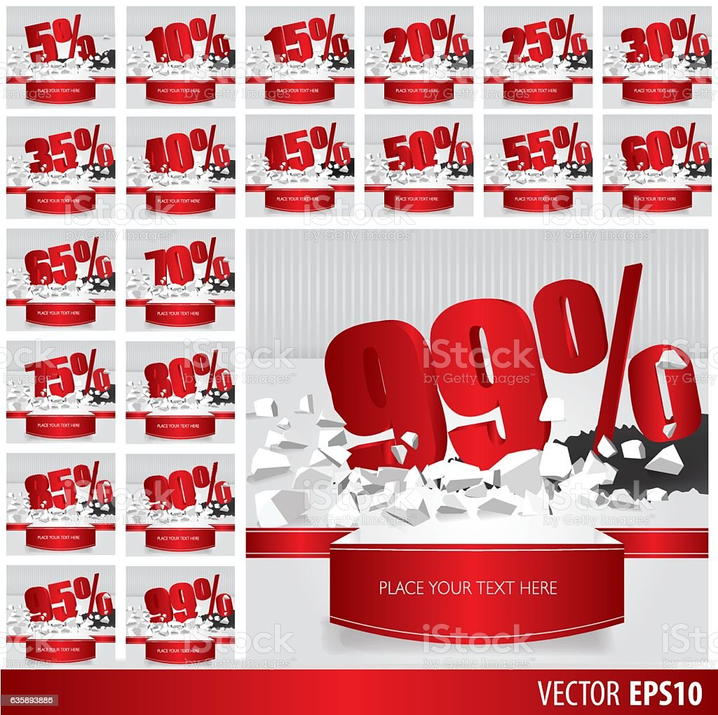 Red collection discount. vector art illustration
