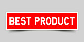 Red color label sticker in word best product on gray background