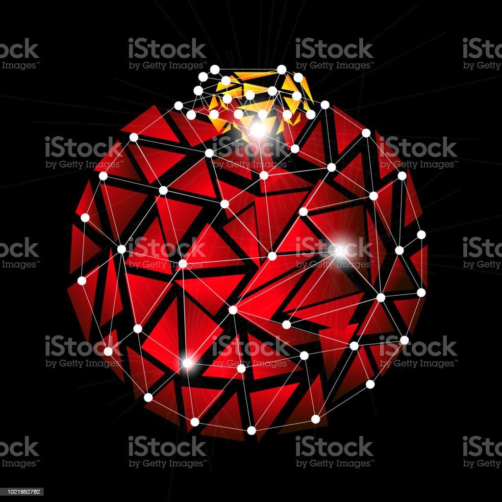 Weihnachtsbaum Explodiert.Rote Farbe Lowpoly Weihnachtsbaum Spielzeug Explosion Stock Vektor