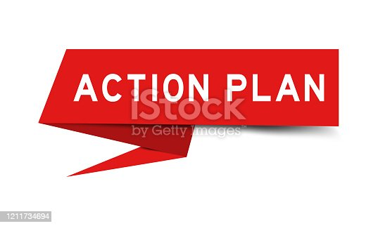 istock Red color paper speech banner with word action plan on white background 1211734694