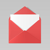 istock Red color realistic envelope mockup 891527468