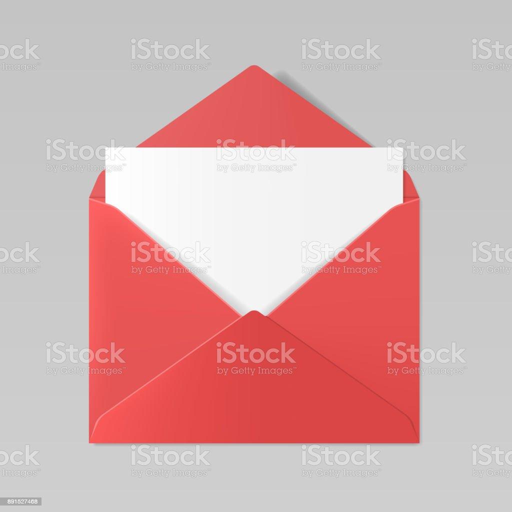 Maquete de envelope realista de cor vermelha - ilustração de arte em vetor