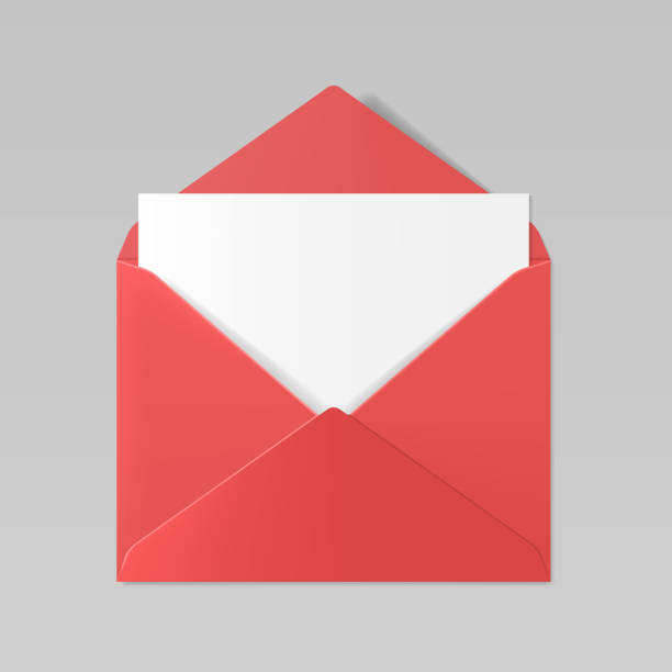 red color realistic envelope mockup - stationery templates stock illustrations