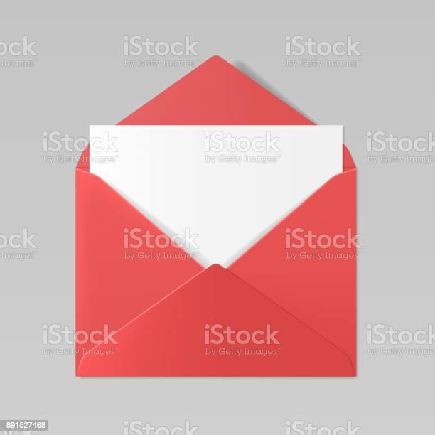 Red color realistic envelope mockup