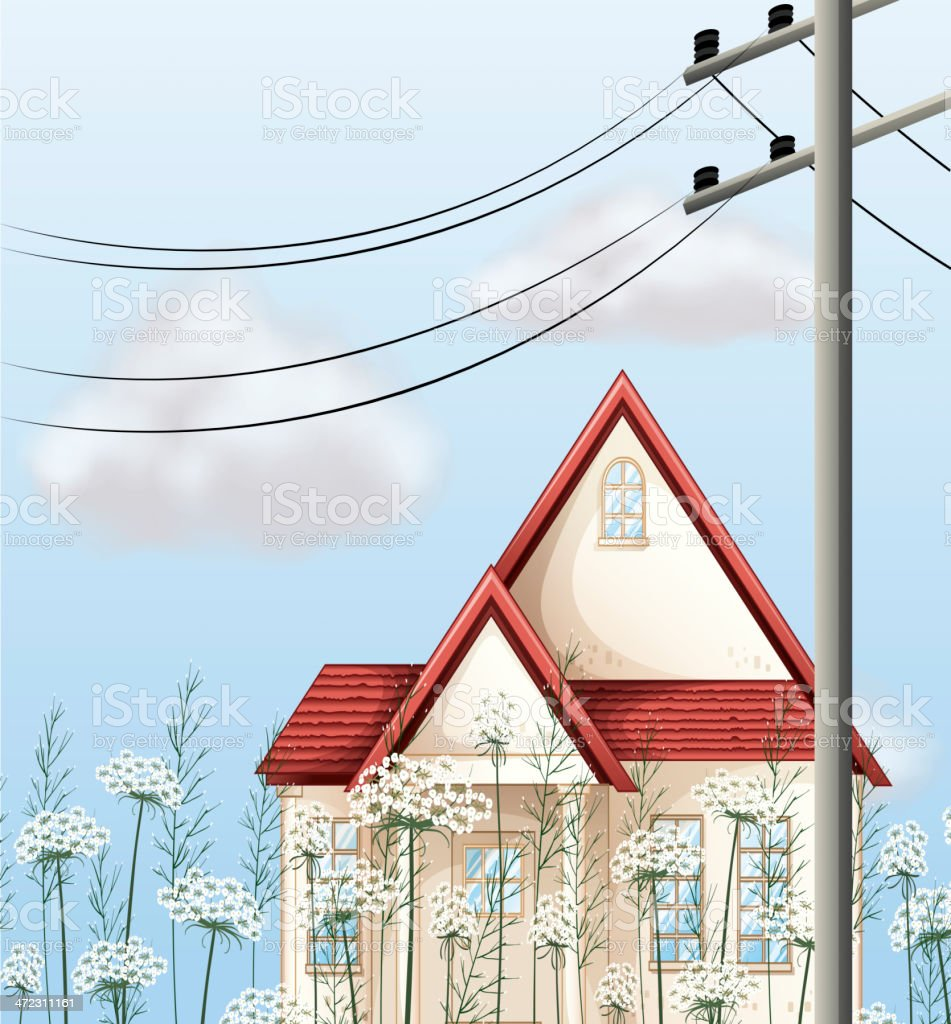 Red color roof house royalty-free stock vector art