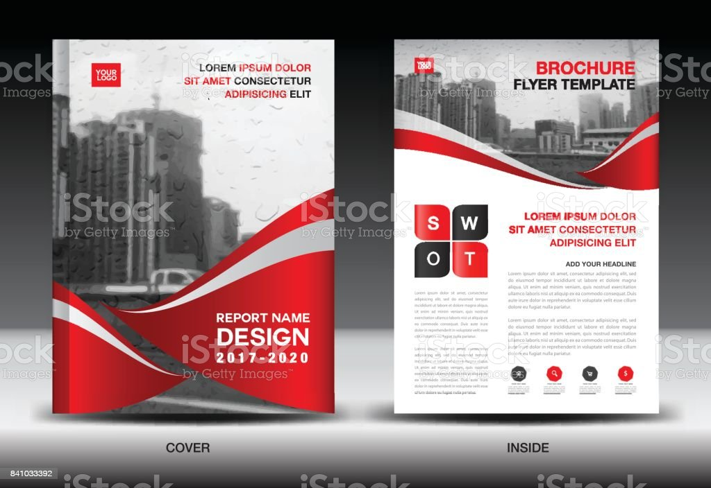 Red Color Scheme with City Background, Book Cover Design Template in A4, Business Brochure flyer, Annual Report, Magazine, company profile vector art illustration