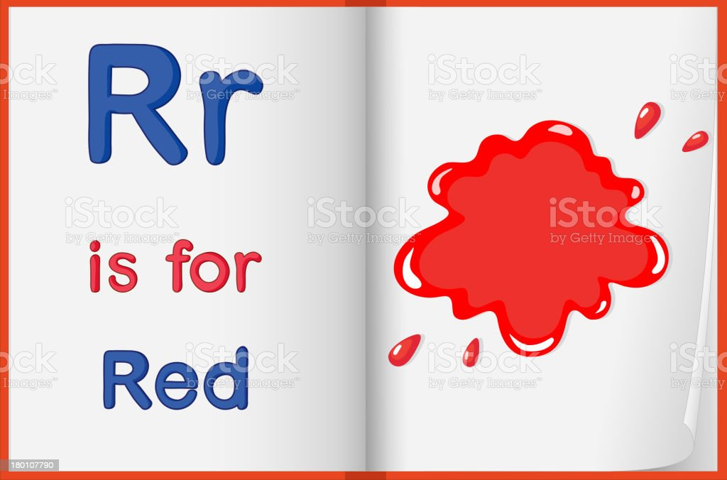 Red color splash on a book royalty-free stock vector art