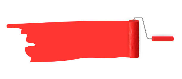 Red color trail of the roller brush on white background for headers, banners and advertising Red color trail of the roller brush on white background for headers, banners and advertising. Vector illustration paint roller stock illustrations