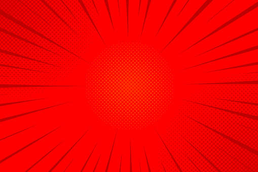 Red comics rays background with halftones. Vector backdrop illustration.