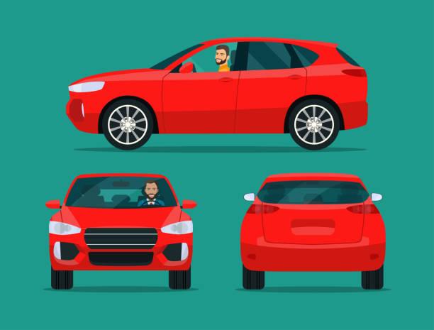 bildbanksillustrationer, clip art samt tecknat material och ikoner med röd kompakt cuv isolerad. bil cuv med föraren man sidovy, tillbaka vy och framifrån. vektor platt stil illustratio - kör