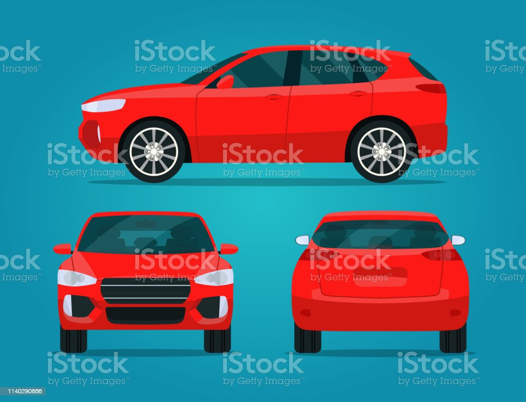 Red compact CUV isolated. Car CUV with side view, back view and front view.  Vector flat style illustratio Red compact CUV isolated. Car CUV with side view, back view and front view.  Vector flat style illustratio Business stock vector