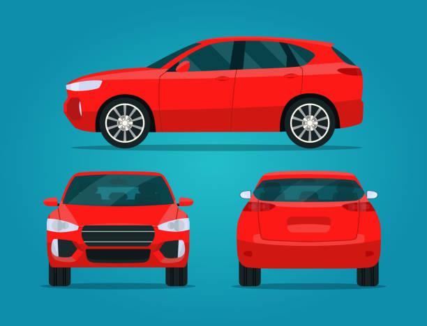 illustrazioni stock, clip art, cartoni animati e icone di tendenza di cuv rosso compatto isolato. cuv dell'auto con vista laterale, vista sul retro e vista frontale.  illustratio vettoriale in stile piatto - auto