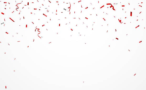 stockillustraties, clipart, cartoons en iconen met rode achtergrond met confetti en lint - confetti