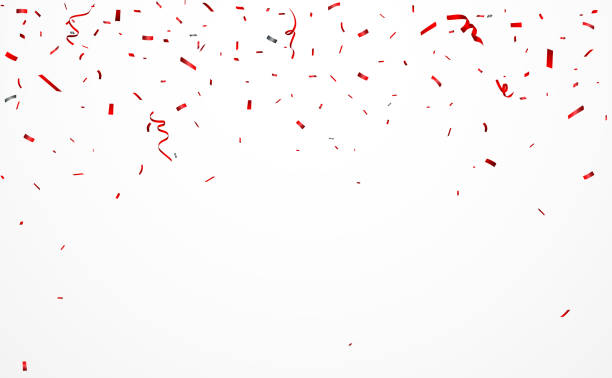 red confetti and ribbon background - confetti stock illustrations