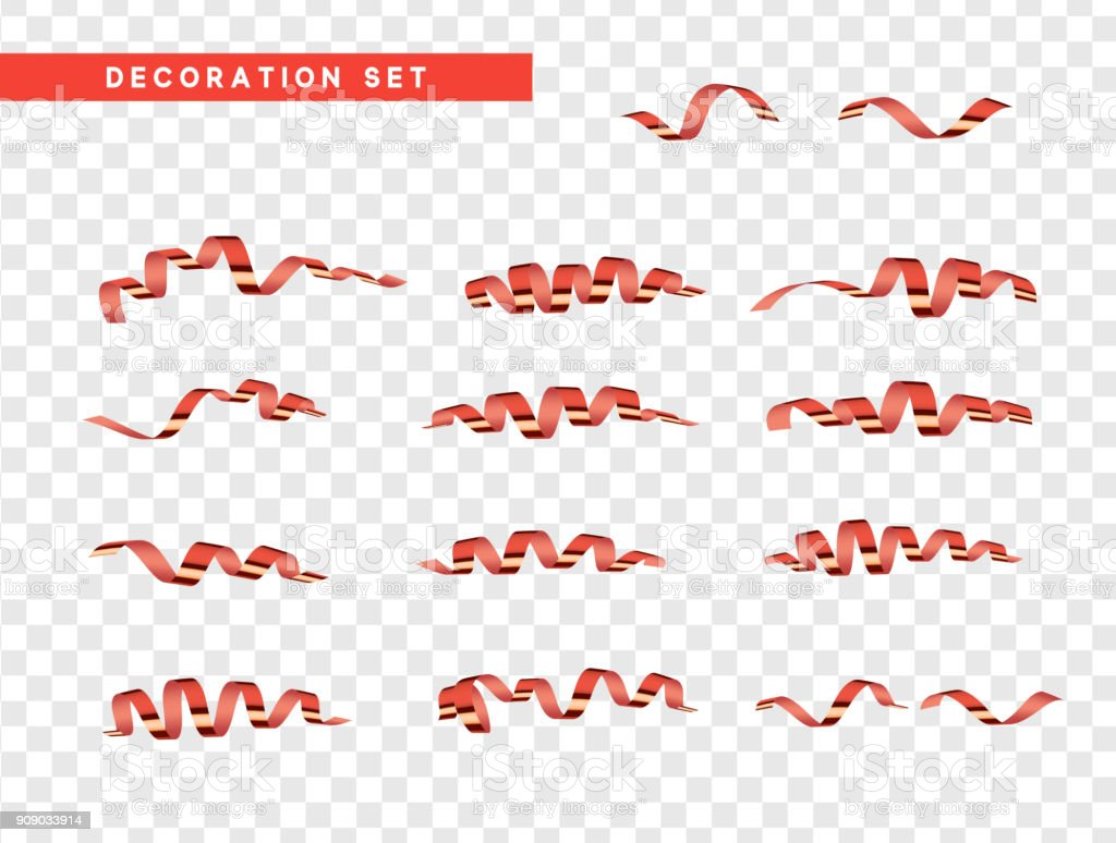 Red confetti celebration. Ribbon serpentine, isolated with transparency background effect vector art illustration