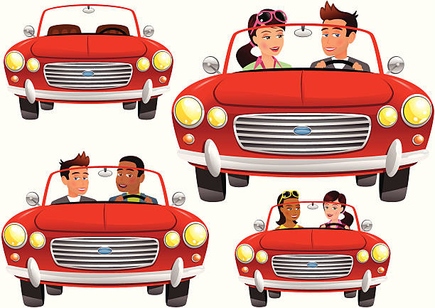 Red convertible classic sports car Four isolated and movable versions of a generic classic sports car convertible. One empty, one with boy/girl, one boy/boy and one girl/girl. convertible stock illustrations