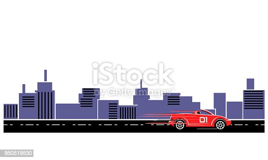istock Red convertible sports car in the highway vector 950519530
