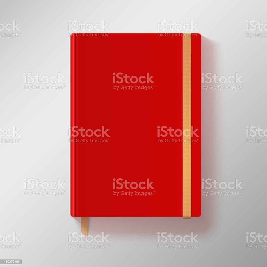 Red copybook with elastic band and gold bookmark. vector art illustration