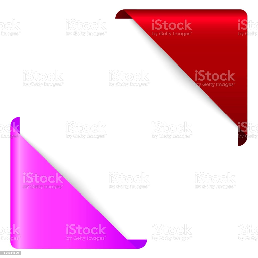 red corner ribbon corner banner vector tag isolated on background