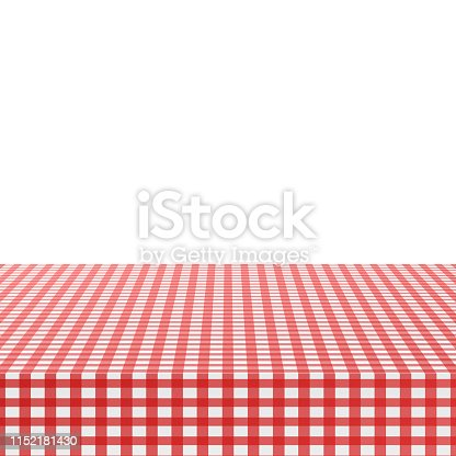 Red corner tablecloth on white background. Vector illustration.