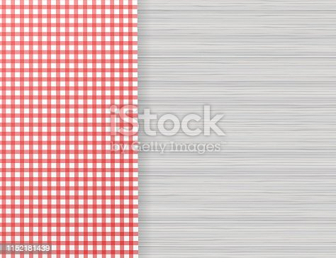 Red corner tablecloth on white wood table. Vector illustration.