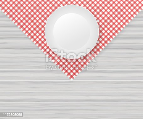 Red corner tablecloth on white wood table. Vector stock illustration