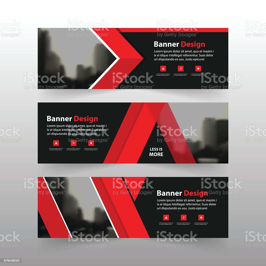 red corporate business banner template horizontal