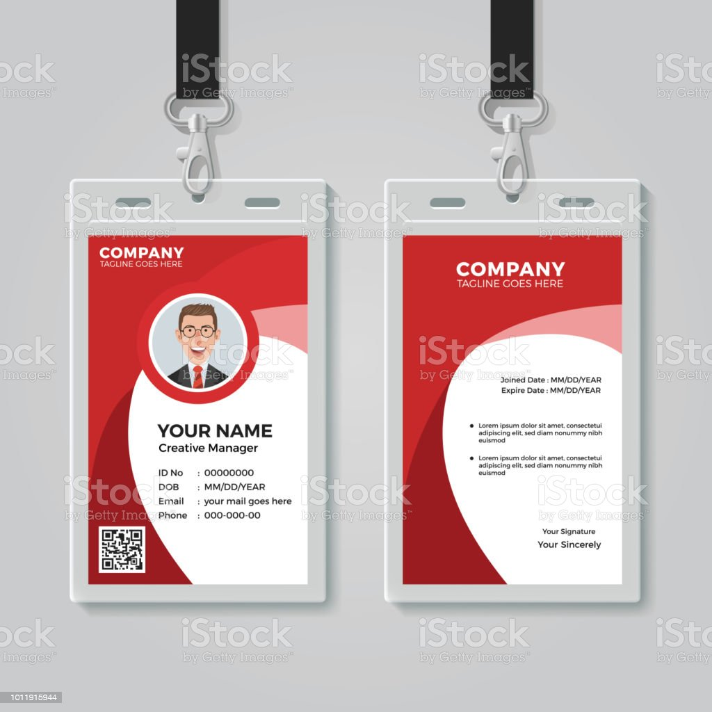Red Corporate Id Card Template Stock Illustration Download Image Now