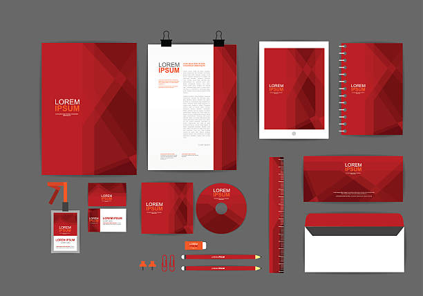 red corporate identity template - stationery templates stock illustrations