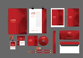 Red corporate identity template