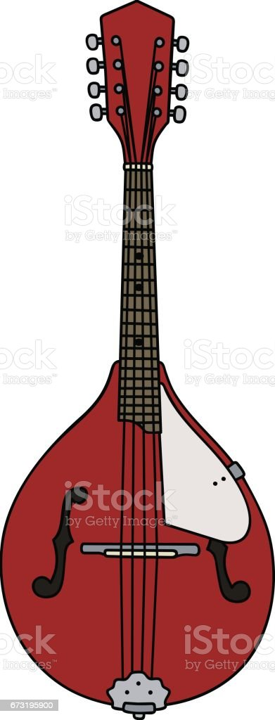 Red country mandolin vector art illustration