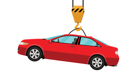 Red Coupe Car Hanging On Hook Crane — стоковая векторная графика и другие изображения на тему Автомобиль - iStock