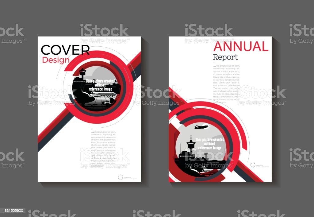 Red Cover Modern Abstract Cover Book Brochure Template Design Annual