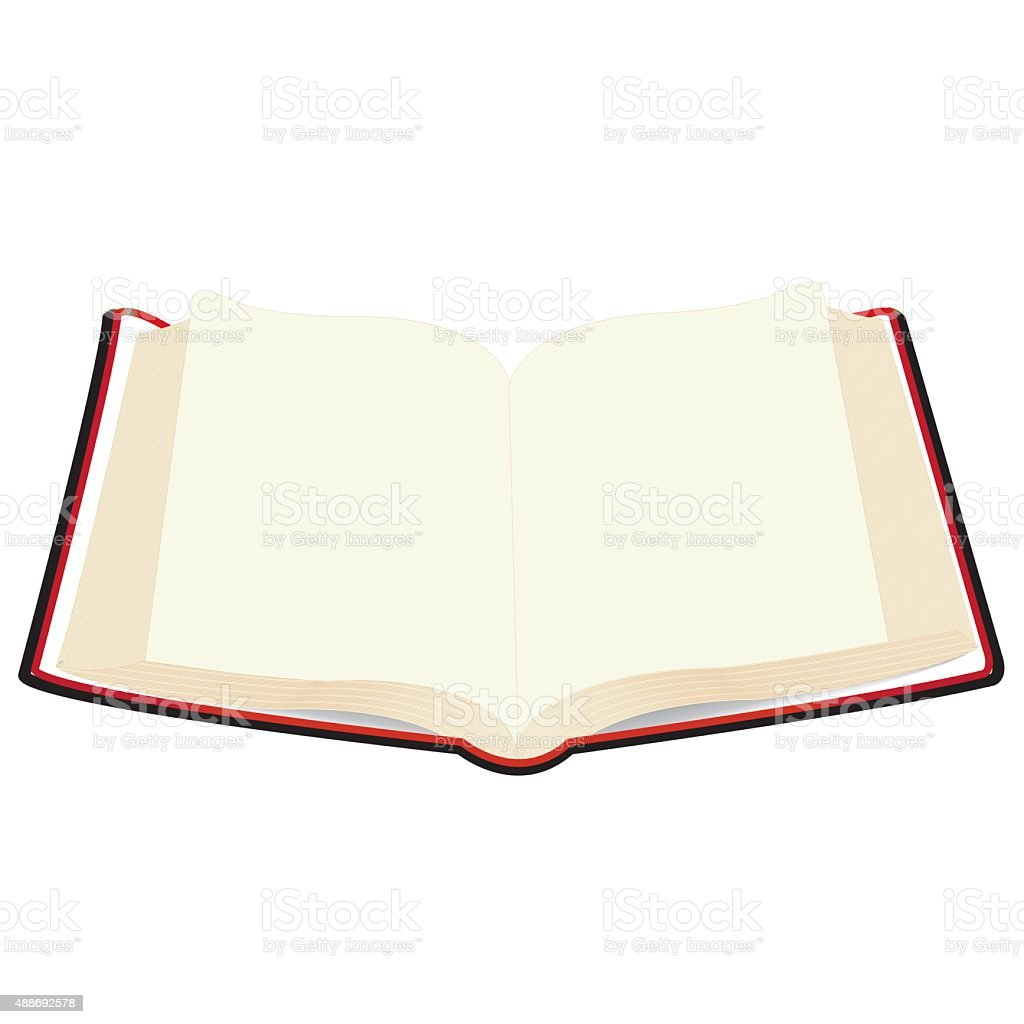 red covered opened book with pages fluttering vector art illustration