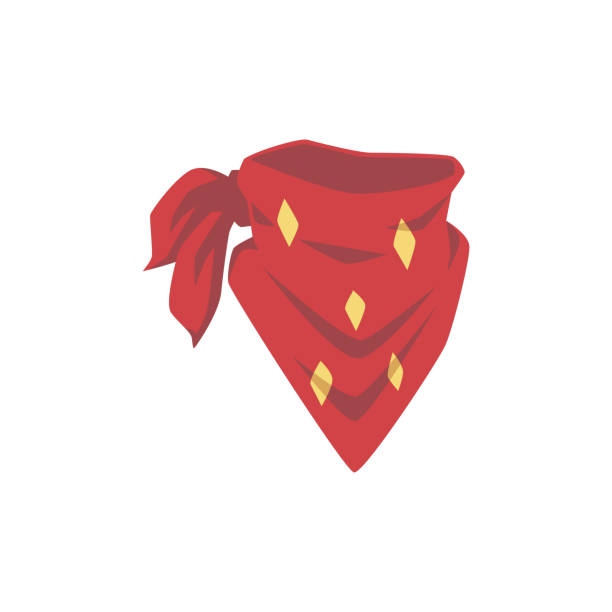 Red cowboy bandana with yellow diamond pattern - western fashion accessory Red cowboy bandana with yellow diamond pattern - vintage western fashion accessory for face cover and neck decoration. Isolated flat vector illustration. headscarf stock illustrations