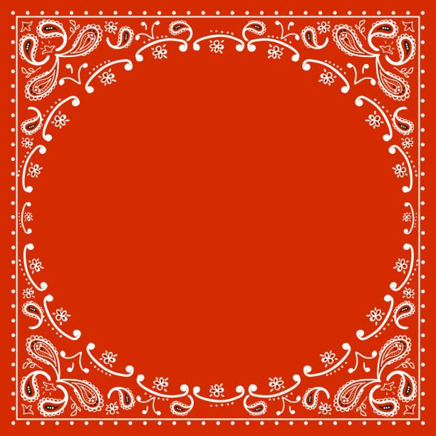 red cowboy bandanna vector art illustration