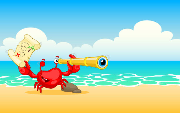 red crab on sea beach. funny crab with a treasure map and a telescope. red crab is looking for treasure. vector illustration - treasure map backgrounds stock illustrations