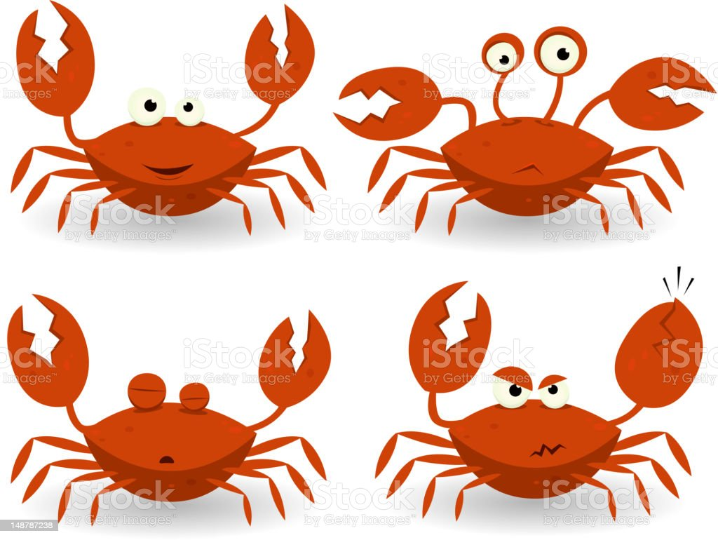 Red Crabs Characters royalty-free stock vector art