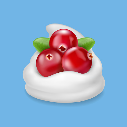 Red cranberry in yogurt or cream. Realistic dessert with berries