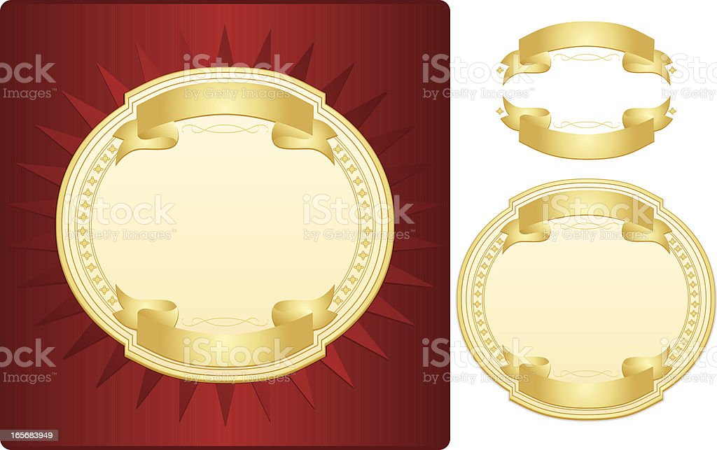 Red, Cream Label with Gold Ribbons - Design Set royalty-free red cream label with gold ribbons design set stock vector art & more images of achievement