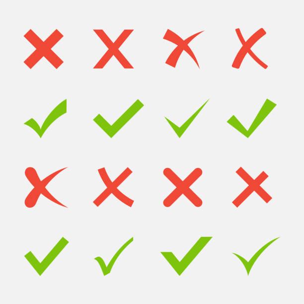Red cross and green tick Red cross and green tick vector set. Yes and No icons for websites and applications. Right and Wrong signs isolated on white background. Mark X and V in a flat style. accuracy stock illustrations