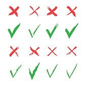 Red cross and green tick vector set. Yes and No icons for websites and applications. Right and Wrong signs isolated on white background. Mark X and V in a flat style
