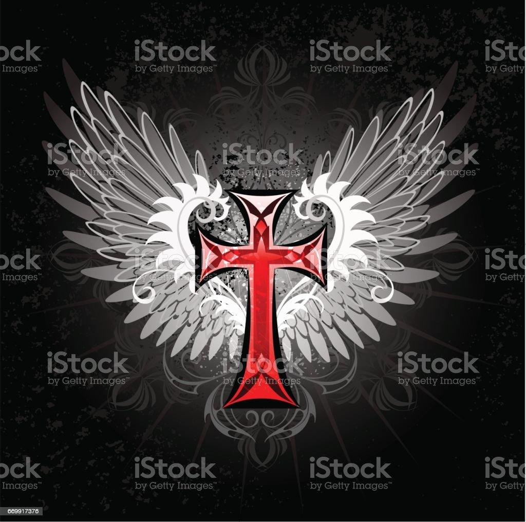 Red Cross With Wings Lizenzfreies Vektor Illustration