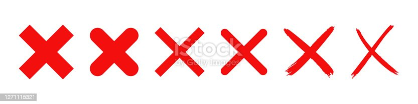istock red cross x vector icon. no wrong symbol. delete, vote sign. graphic design element set on white background 1271115321
