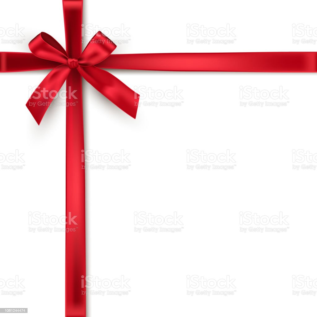 Red crossed ribbons and bow. Vector realistic design element. - arte vettoriale royalty-free di Anniversario