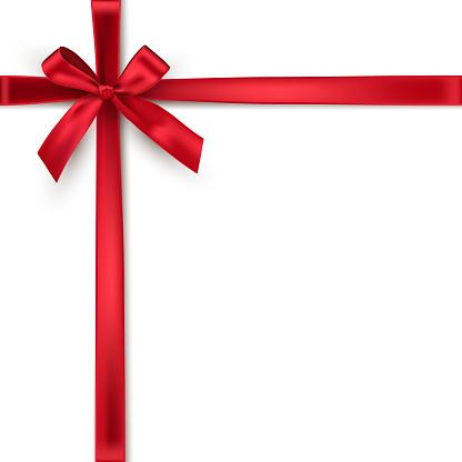 Red Crossed Ribbons And Bow Vector Realistic Design Element - Immagini vettoriali stock e altre immagini di Anniversario