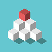 Isometric red cube on top of pyramid on turquoise blue. Management, recruitment, leadership, development and hierarchy concept. Flat design. Vector illustration, no transparency, no gradients