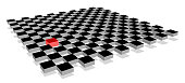 Red cube standing out from crowd of plenty identical fellows on 3d checkerboard plane. Leadership, uniqueness, independence, initiative, strategy, dissent, think different, business success concept.